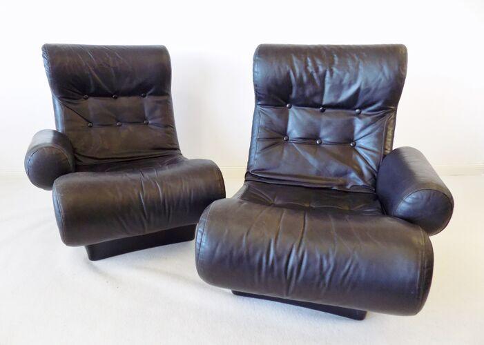 Canapé en cuir de sofalette Otto Zapf 2 places