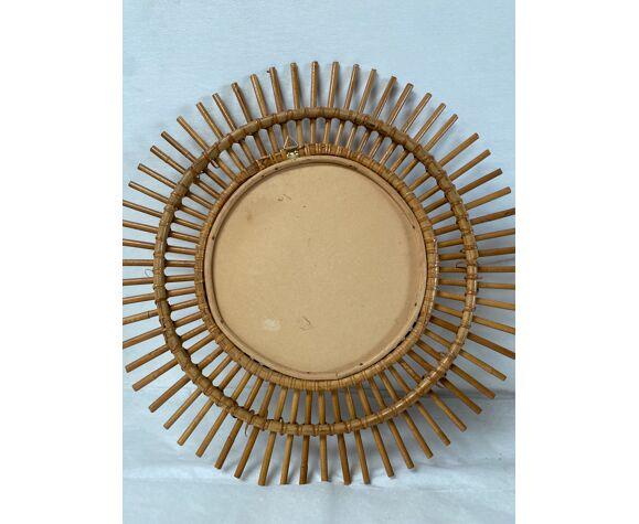 Miroir soleil en rotin vintage 48cm