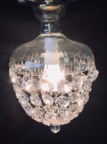 Suspension montgolfière, lumières en cristal