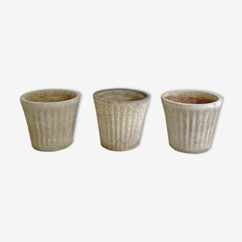 Ensemble de 3 pots de jardin en fibrociment 1970