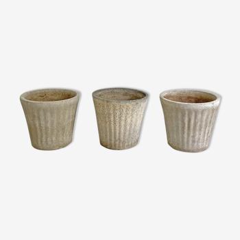 Set of 3 garden pots in Fibrocement 70's
