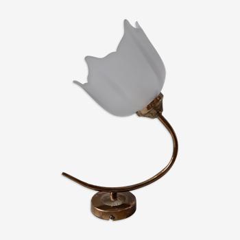 Applique tulipe en laiton doré années 50
