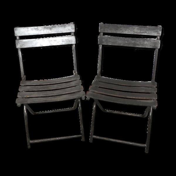 Paire de chaises industrielle