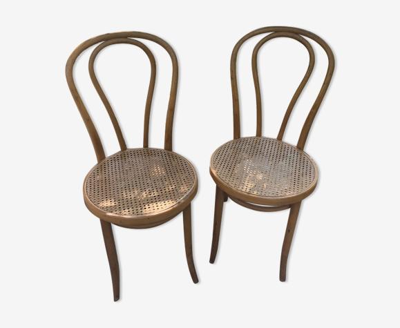 Paire de chaises bistrot cannées Thonet