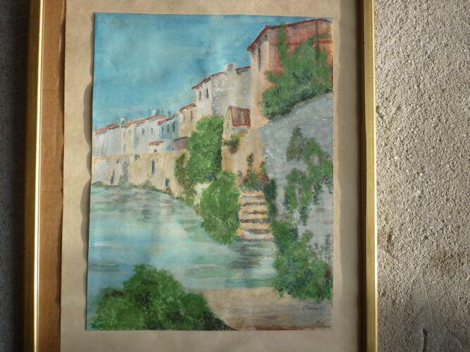Peinture aquarelle village bord de riviere signé