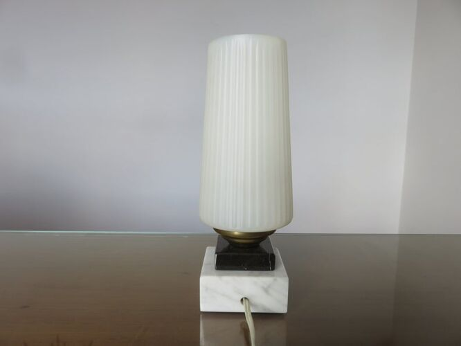 Lampe marbre, laiton et perspex années 50 60
