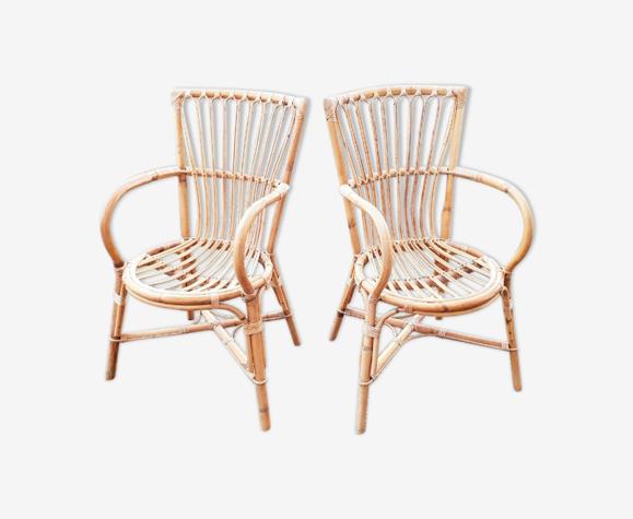 Paire de fauteuils vintage en bambou