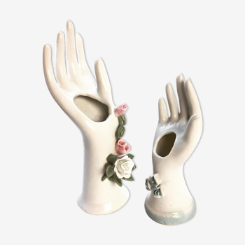 Lot de mains baguieres soliflores en porcelaine