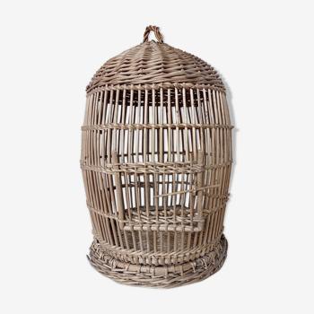 Cage ancienne ronde en osier
