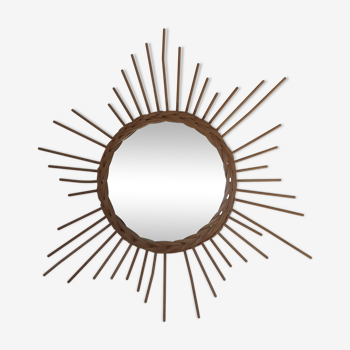 Miroir soleil en rotin - années 70 58cm