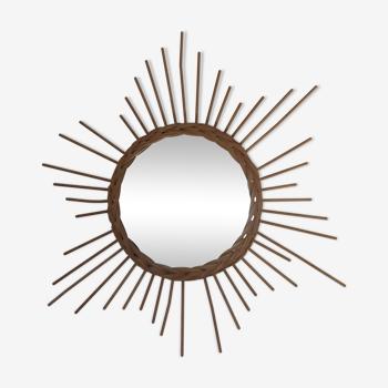 Rattan sun mirror - year 70 58cm