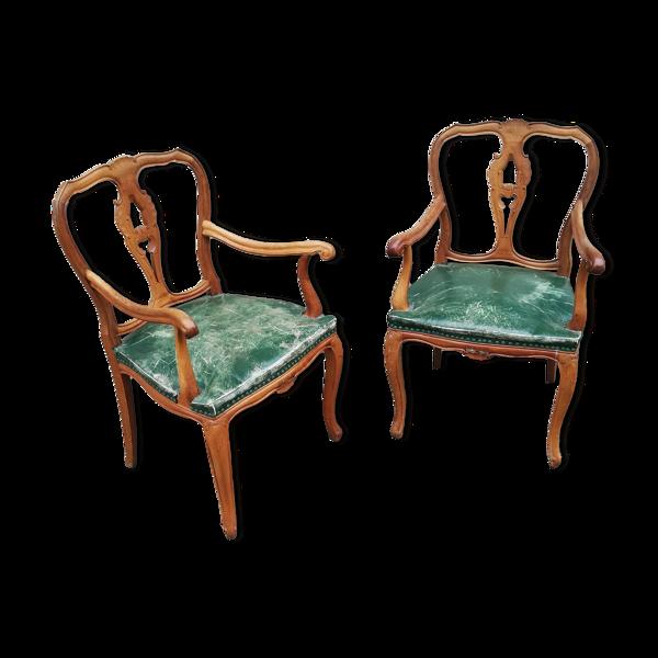 Paire de fauteuils en cuir vert