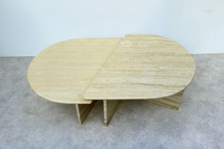 Table basse vintage en travertin