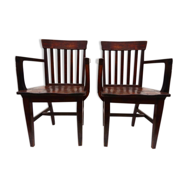 Ensemble de 2 fauteuils de banquier anciennes de Heywood Wakefield