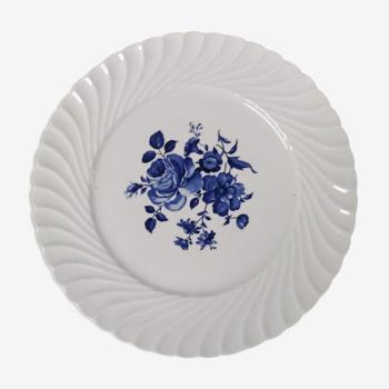Assiette plate Keller & Guérin décor fleur bleue