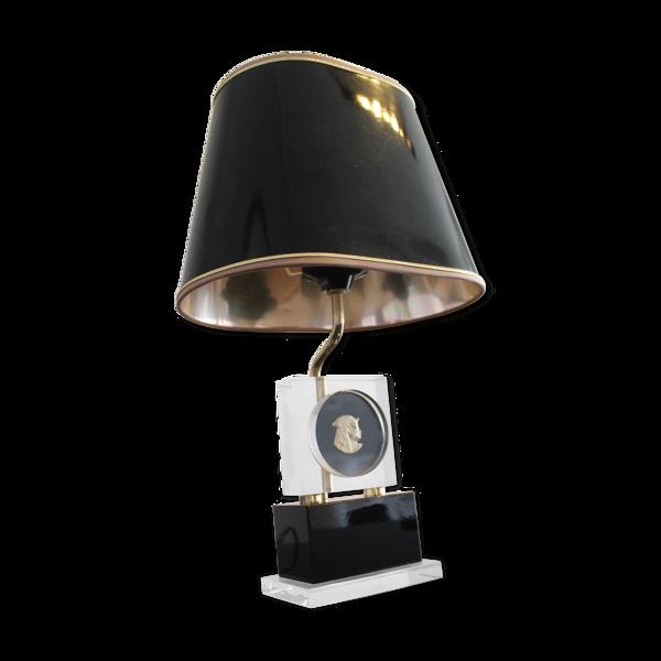 Lampe de table en laiton et plexiglas 1970