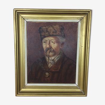 Portrait vieil homme à la pipe