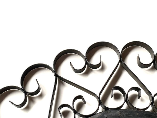 Miroir rond en métal noir, années 60 - 28cm