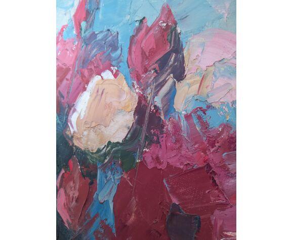 Tableau peinture bouquet de fleurs