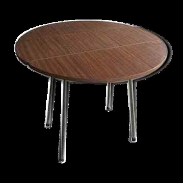 Table ronde marron en formica vintage