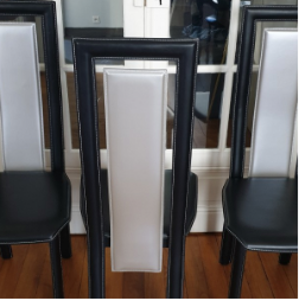 Chaise en cuir bicolore, fabrication italienne