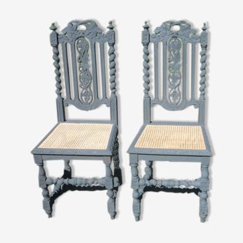 Paire de 2 chaises sculptées néo-renaissance Henri II