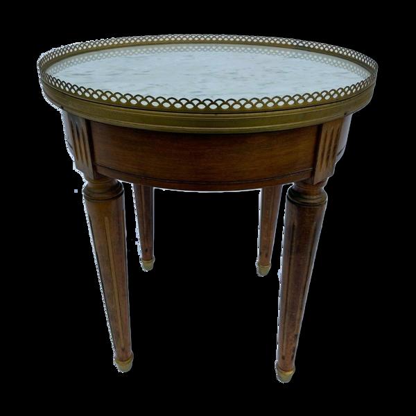 Table bouillotte  style Louis xvi marbre blanc 4 pieds canneles