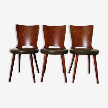 3 chaises baumann « dove » skaï amande