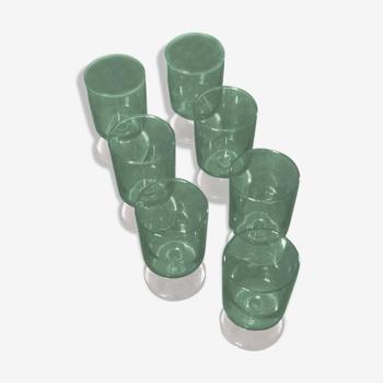 Ensemble de 7 verres vert fabriqués en France