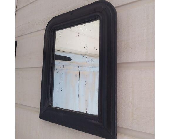 Miroir ancien plâtre cadre bois noir 25x32cm