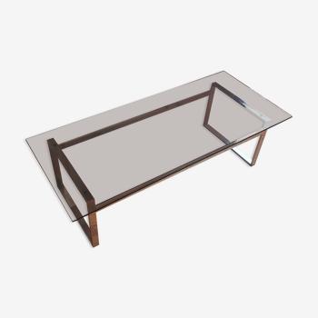 Table basse verre gris fumé