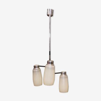 Lampe suspendue chromée du milieu du siècle par Drupol, Tchécoslovaquie années 1960