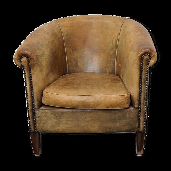 Fauteuil club vintage en cuir de couleur cognac Pays-Bas