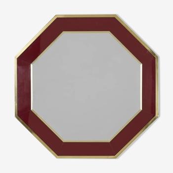 Miroir octogonal années 70 en loupe et laiton