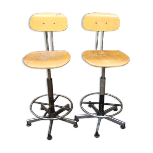 Paire de chaises industrielle vintage
