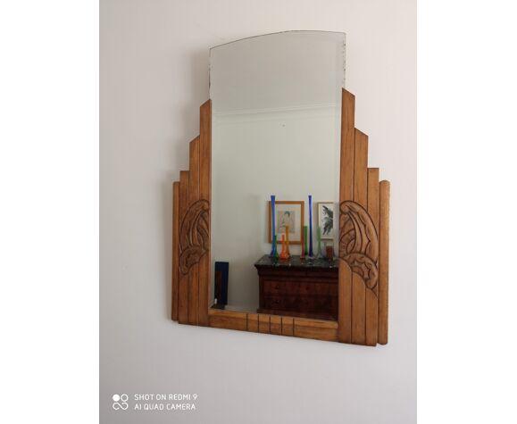 Miroir biseauté art nouveau en bois 82x109cm