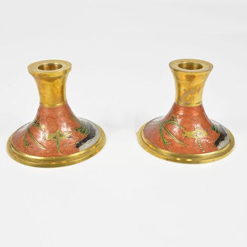 Paire de chandeliers en laiton émaillé, France, années 1970