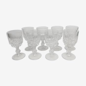 Lot de 8 verres à liqueur ciselés vintage déco collection XXème siècle
