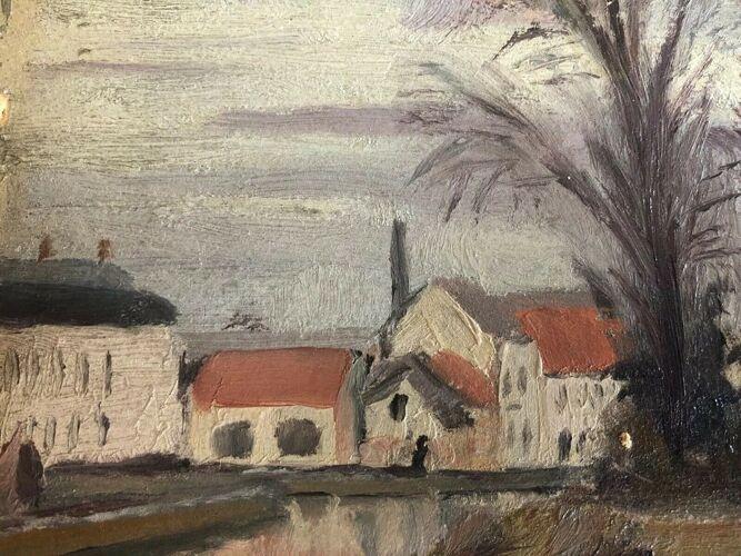 Paysage  d'usine à Auvers-sur-Oise signé L.Santa-Maria en 1937