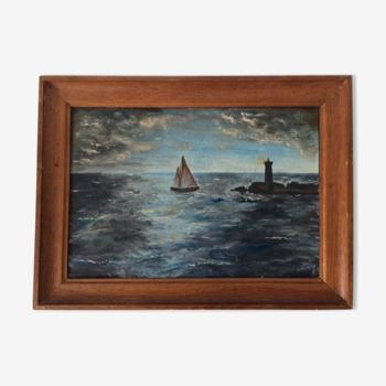 Marine huile sur isorel René Carrière 1950