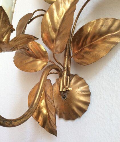 Applique feuilles en métal doré, Hans Kölg