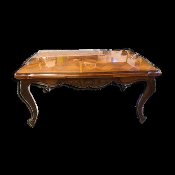 Table en merisier marqueté avec plateau verre et 2 rallonges intégrées coulissante