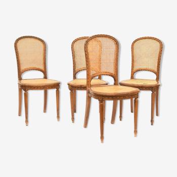 4 chaises cannées de style louis xvi