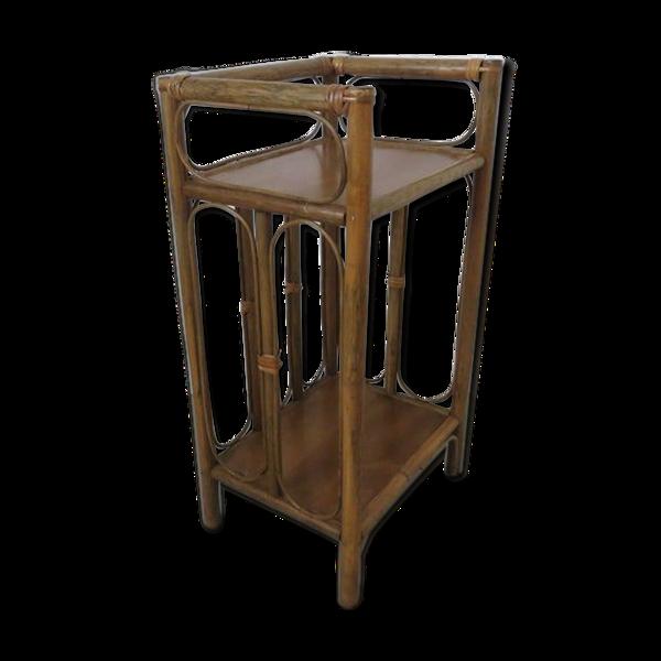 Table de chevet ou étagère en rotin années 60 70