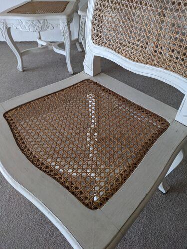 4 chaises cannées en bois patiné