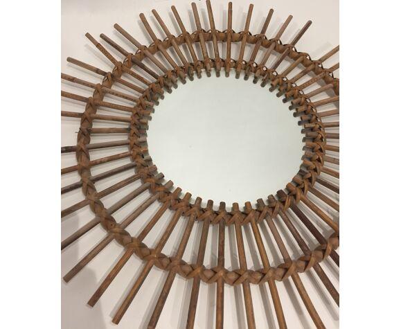 Miroir soleil rotin 55cm