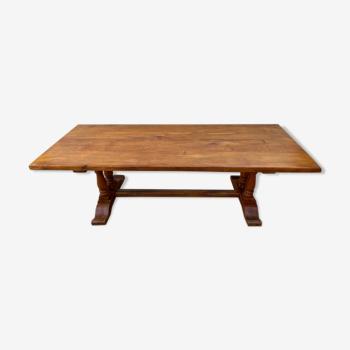 Table de ferme monastère à repas à manger en chêne massif 1950 225x86x74cm