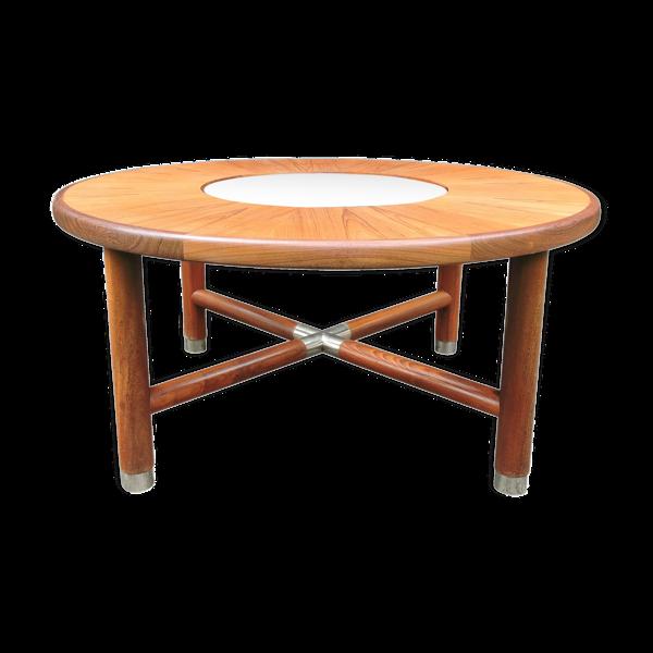Table à café en teck rond et verre du milieu du siècle de G-Plan
