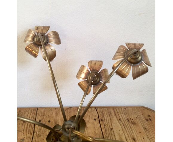 Lustre fleurs en laiton