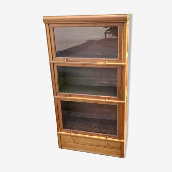 Bibliothèque vitrine MD modulable en chêne clair 1950